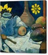 Still Life With Teapot And Fruit Canvas Print