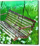 Swing In The Daisies Canvas Print