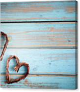 Two Hearts On Wooden Background Canvas Print
