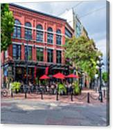 Outdoor Cafe In Gastown, Vancouver, British Columbia, Canada Canvas Print