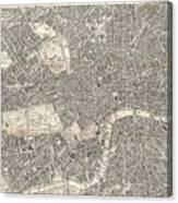 Vintage Map Of London England  Canvas Print
