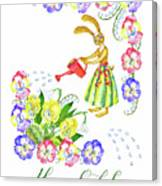 Welcome Spring. Rabbit And Flowers Canvas Print