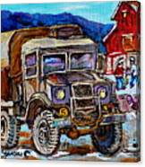 50's Dodge Truck Red Wood Barn Outdoor Hockey Rink  Art Canadian Winter Landscape Painting C Spandau Canvas Print
