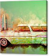 57 Chevy Nomad Wagon Blowing Beach Sand Canvas Print