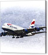 British Airways Airbus A380 Art Canvas Print