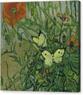 Butterflies And Poppies Canvas Print