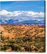 Canyon Badlands And Colorado Rockies Lanadscape Canvas Print