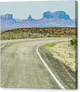 descending into Monument Valley at Utah  Arizona border  Canvas Print