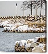 Frozen Winter Scenes On Great Lakes  Canvas Print