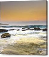 Hazy Dawn Seascape With Rocks Canvas Print