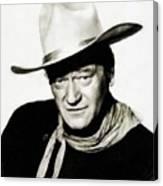 John Wayne, Vintage Actor By Js Canvas Print