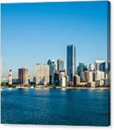 Miami Florida City Skyline Morning With Blue Sky Canvas Print