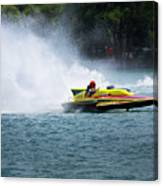 Roostertail From Racing Hydroplanes Boats On The Detroit River For Gold Cup Canvas Print