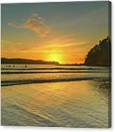 Sunrise Seascape From The Beach Canvas Print