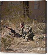 U.s. Soldier Conducts A Combat Training Canvas Print