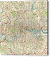 Vintage Map Of London England  Canvas Print