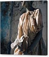 Woman In Bronze Statue Look With Patina Body Paint Canvas Print
