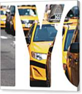 Yellow Cab Speeds Through Times Square In New York, Ny, Usa.  Canvas Print