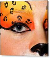 Young Female Model With Make Up Mask Canvas Print