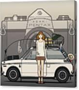 Honda N600 Rally Kei Car With Japanese 60's Asahi Pentax Commercial Girl Canvas Print