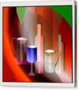 643  Still Life  With Bottles And  Cups  V  Canvas Print