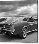 67 Fastback Mustang In Black And White Canvas Print