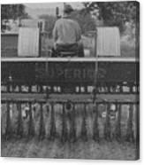 A Farmer Driving A Tractor Canvas Print