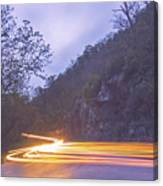 Automobile Traffic Long Exposure At Dusk In Pisgah National Park Canvas Print