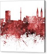 Bremen Skyline In Watercolor Background Canvas Print