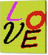Graphic Display Of The Word Love  Canvas Print