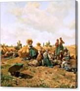 Peasants Lunching In A Field Daniel Ridgway Knight Canvas Print