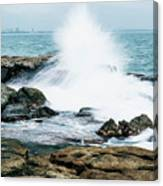 Rocks And Waves At Point Cartwright  Canvas Print