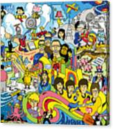 70 illustrated Beatles' song titles Canvas Print