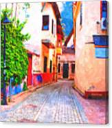 A Digitally Constructed Painting Of Cobbled Back Streets Of Kaleici In Antalya Turkey Canvas Print