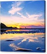 Beach Skyset Sunset On A Perranporth Beach Cornwall Canvas Print