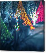 Christmas Season Decorationsafter Sunset At The Gardens Canvas Print