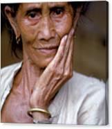 Elderly Woman In Laos Canvas Print