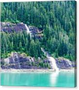 Waterfall In Tracy Arm Fjord, Alaska Canvas Print