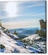 Amazing Winter Landscape With Frozen Snow-covered Trees On Mountains In Sunny Morning  Canvas Print