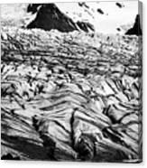 ash covered Skaftafell glacier and end moraine Vatnajokull national park in Iceland Canvas Print