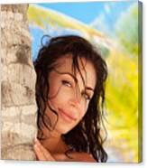 Beautiful Woman On The Beach Canvas Print