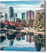 Charlotte City North Carolina Cityscape During Autumn Season Canvas Print
