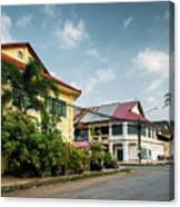 Old French Colonial Architecture In Kampot Town Street Cambodia Canvas Print