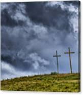 Three Crosses On Hill Canvas Print