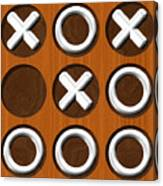 Tic Tac Toe Wooden Board Generated Seamless Texture Canvas Print