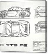 911 Gt3 Rs Blueprint - White Canvas Print
