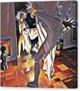 9926s-dm Watercolor Woman In White Confronts Herself In Mirror Canvas Print