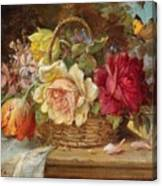 A Basket Of Flowers And A Butterfly Hans Zatzka Canvas Print