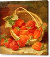 A Basket Of Strawberries On A Stone Ledge Canvas Print