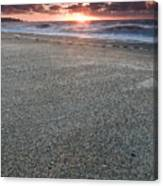 A Beach During Sunset With Glowing Sky Canvas Print